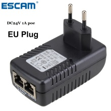 ESCAM DC24V 1A 24W POE Injector for CCTV IP Camera POE injector POE Switch Ethernet Adapter EU/US/UK/AU Standard Optional
