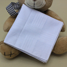 5 pcs/lot Free Shipping 100% Cotton Solid White Men Handkerchief Export item 40cm*40cm(China)