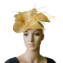 NEW Champagne gold yellow feather fascinator sinamay leaf.