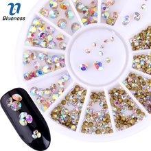 Blueness Glitter Design AB Mixed Size Adhesives Crystal Decorations 3D Manicure Rhinestones For Nails Art Accessories Studs Tips(China)