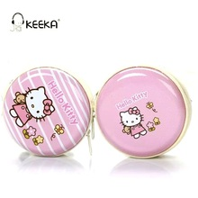 KEEKA Hello Kitty Wired Earphone Cute Candy Color lovely girl earphone case storage box in-ear Universal for smartphone mp3