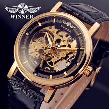 Fashion WINNER Men Luxury Brand Hand-wind Leather Casual Watch Automatic Mechanical Wristwatches Gift Box Relogio Releges 2016