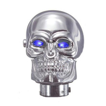 New Universal Chrome Skull Car Manual Gear Stick Shift Shifter Knob Lever Blue LED