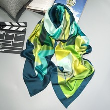2016 Fashion bandana Luxury Scarve Woman Brand 100% Silk Scarf With Flower Classcial Plaid Women Shawl High Quality Print hijab