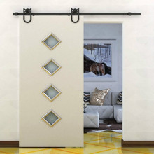 5ft /6ft /6.6ft Black American Antique Horseshoe Barn Wood Sliding Door Hardware Track Set(China)