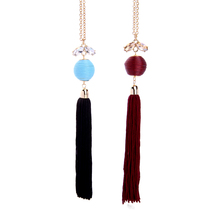 Red/Black Long Fringe Tassel Pendant Necklace Classic Handmade Pom Pom Ball Ethnic Necklace Women Jewelry(China)