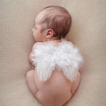 Lovely Baby Angel Wing Newborn Photography Props Set Baby Angel Fairy White Feather Wing Costume Photo Prop Cupid Atrezzo Baby