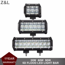 5D Offroad 30W 60W 90W LED Work Light Bar Flood Driving Lamp 12V 24V Car SUV Boat Wagon Pickup Van Camper 4X4 4WD ATV Headlight