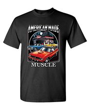 Summer Short Sleeves Cotton Pure Cotton Round Neck Men AMERICAN MADE MUSCLE - Car Race Big Block - Mens Cotton T-Shirt(China)
