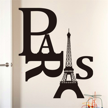 paris the eiffel tower quotes vinyl wall art decals for bedroom home indoor decor black diy stickers(China)