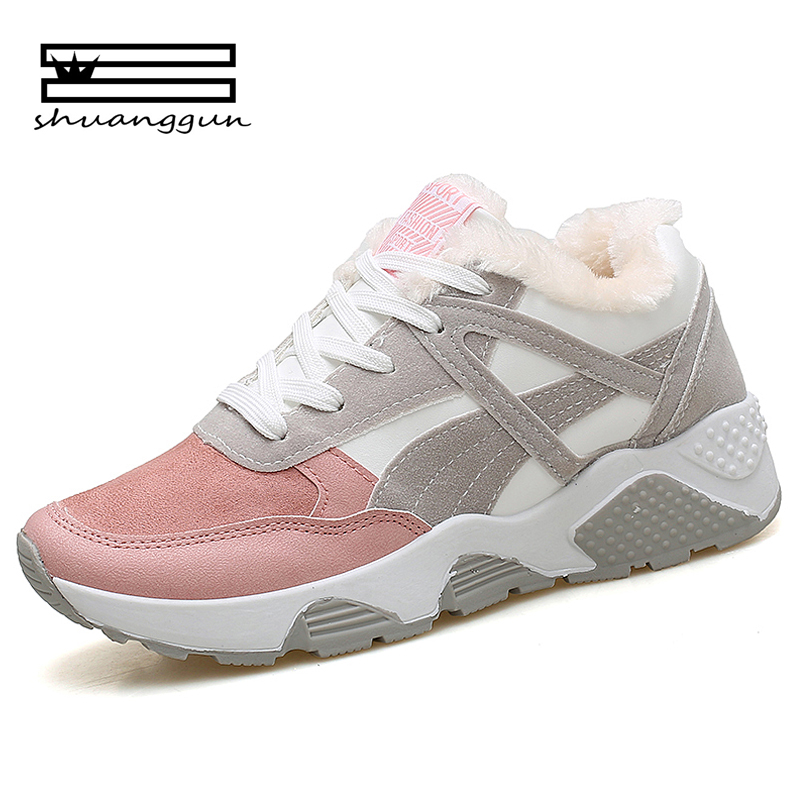 SHUANGGUN 2018 Autumn Fashion Women Casual Shoes Suede Leather Platform  Shoes Sneakers Ladies White Trainers Chaussure 4753098c8ecc