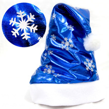 Christmas Santa Claus Hats Bright Cloth Blue Caps For Adult And Kids XMAS Decor Wholesale New Year's Gifts Home Party Supplies(China)