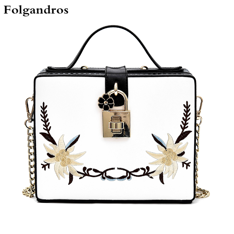 New Simple Embroidery Bag Exquisite Flower Lock Women Tote Bag Box Shoulder Crossbody Bag Lady Clutch Handbags Purses Sac A Main<br>