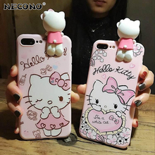 NECONO Fashion Cute 3D Cartoon Kitty Cat Soft TPU Protective Case for iPhone X 8 7 6 6S Plus Back Cover Coque for iPhone 7 plus(China)