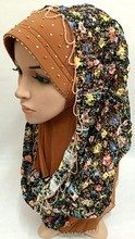 (Color same from the picture you chose) New Summer light beautiful scarf type net fabric beaded wig wrap muslim hijab