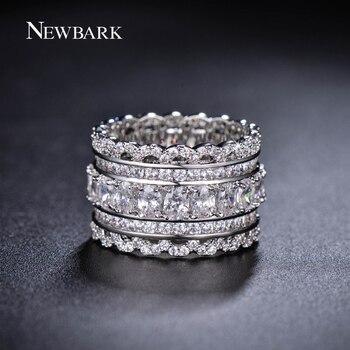 NEWBARK De Luxe Large Cercle Femmes Anneaux Avec Ovale AAA Cubique Zircone Et Mode Petit Rond CZ Bague en Diamant Bijoux