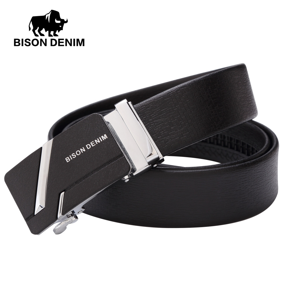 BISON DENIM High quality cow Genuine Leather Male ...