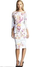 Spring New IN Vintage Butterfly Printed Slash Neck Slim Stretch Jersey Dress With Sashes Plus Size XXL