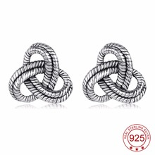 YFN 925 Sterling Silver Celtic Knot Vintage Retro Stud Earrings Lucky Fashion Jewelry For Women(China)