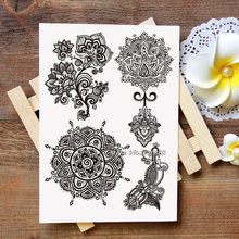 Waterproof Metallic Gold Silver White Temporary Tattoo For Black India Henna Tattoo Love Flower Pattern #006(China)
