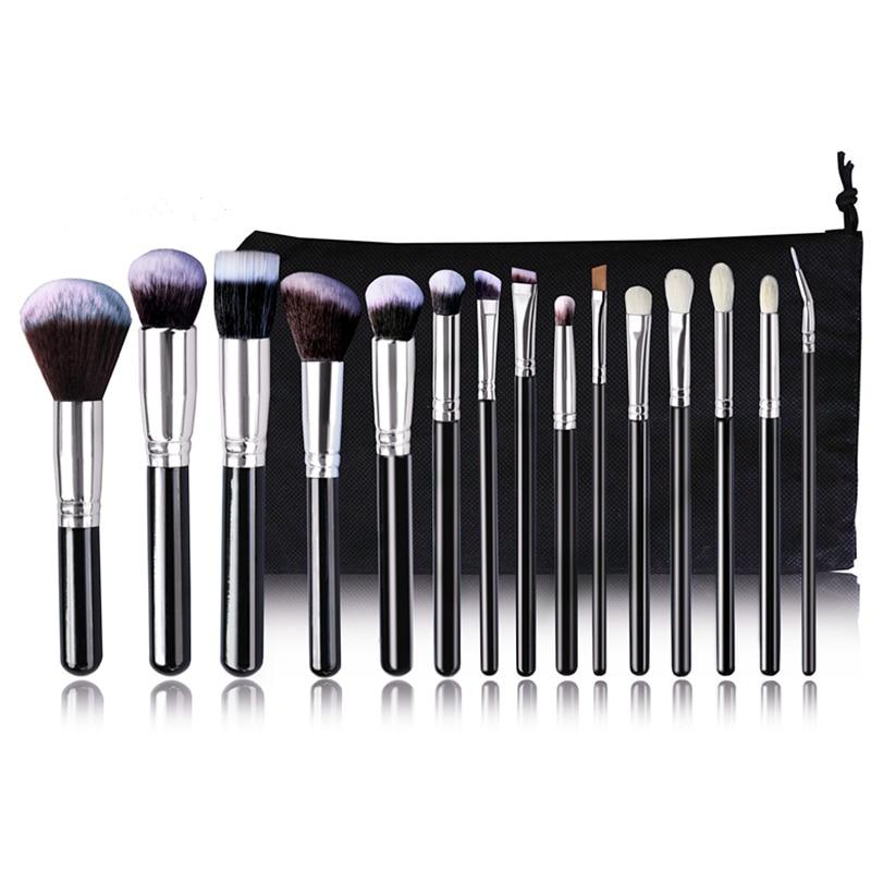 Pro 15pcs Makeup Brushes Set Powder Foundation Eyeshadow Concealer Eyeliner Lip Brush Tool Black/Silver with bag<br>