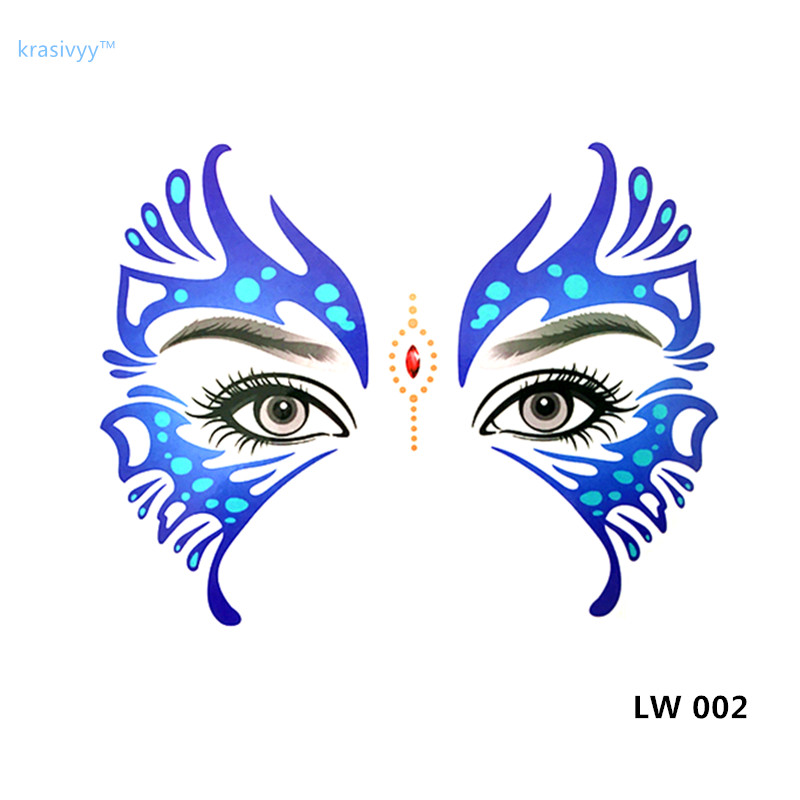 Hot sale Masquerade flash tattoo paste face temporary face stickers jewelry Arab India's large temporary tattoos makeup tattoo 4