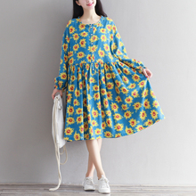 Woman Dress Blue Color Cotton Linen Dress Sunflower Print Vestidos de O Neck Loose Dress Plus Size Women Clothing Autumn Dress
