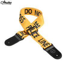 Amumu Guitar Strap for Acoustic Electric Bass Guitar Yellow Nylon Police Do Not Cross Pattern Guitar Belt 63-122 cm