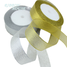 (25yards/roll) 1'' 25mm polyester gold and silver ribbon Christmas packaging ribbon high-grade quality squares ribbon