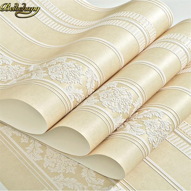 beibehang 3D embossed embossed non-woven wallpaper Jane European vertical striped bedroom living room background wall<br>