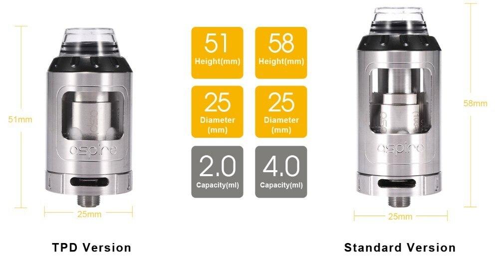 E-Cigarettes Aspire Athos Tank Atomizer with A3 A5 Coil Fit Electronic Cigarette Speeder 0W Box Mod Vape Tank e cigarette 5