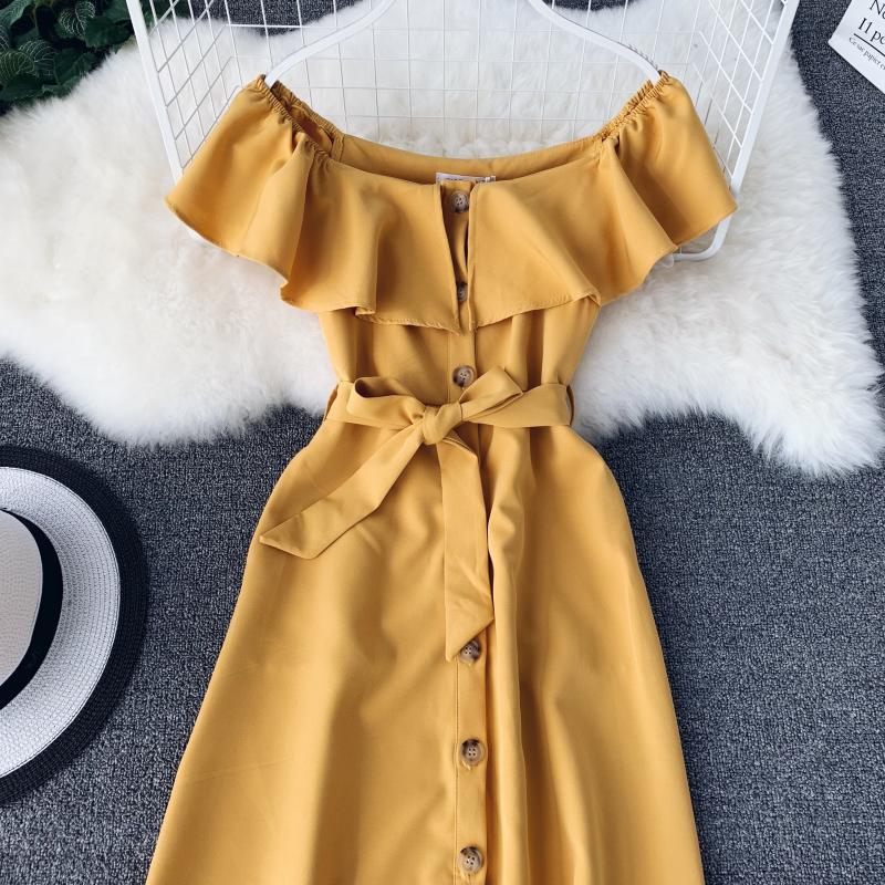 Women White Orange Casual Access Slash Neck Solid Color Single Breasted Vestidos E459 33 Online shopping Bangladesh
