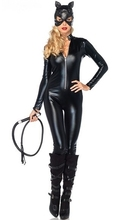 2017 NEW Arrival adult Costume Cat Women Leather Jumpsuit Night Prowler Sexy Catwoman Catsuit Black Cat Halloween Costume M-2XL