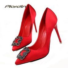 Buy plardin 2018 Shoes Woman Rhinestone Sexy Women Party Wedding Thin Heel Pumps Crystal Spring Summer Women High Heels ladies shoes for $17.99 in AliExpress store