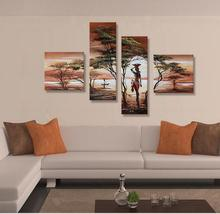 100 handpainted afrian woman hard working tree landscape oil painting on canvas art picture hang on the wall(China)