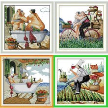 Enjoy life series, counted printed on fabric DMC 14CT 11CT Cross Stitch kits,embroidery needlework Sets Home Decor