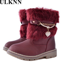ULKNN 2017 Plush snow boots for girls new winter boots children warm non slip shoes kids wine red size 25-36 Children Ankle shoe(China)