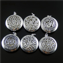 Julie Wang 6PCS Antique Silver Color Mixed Locket Necklace Charms Gift Suspension Pendant Perfume Wholesale Celebration 52743