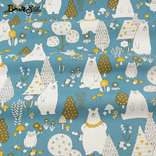 Home Textile Material Quilting Fabrics for Patchwork Cartoon Animals Designs 100% Cotton Bule Fabric Twill  Bed Baby Kid Cloth