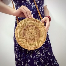 2017 Handmade Rattan woven Round handbag Vintage Retro Straw Knitted Messenger Bag Lady Handbag Summer Beach Tote Circle Bag