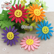 6CM mix color Non-woven patches smiling face sunflower Felt Appliques for clothes Sewing Supplies diy craft ornament