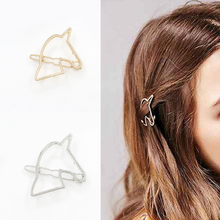 Fashion Women Gold/Silver Barrettes Hair Clip Hollow Out Unicorn Geometry Hairpin Headwear