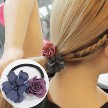 M MISM 1PC Double Flower Elastic Hair Bands Double Colors Simulation Floral Women Girl Headwear Rubber Bands Hair Accessories