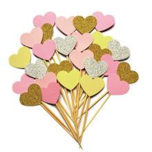 10 Pieces/Lot Handmade Lovely Pink Heart Cupcake Toppers Cake Party Supplies Birthday Wedding Party Decoration BS3112