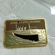 20 pcs/lot Free shipping Titanic Gold Bullion Bar coins, 24k pure gold plated 100th Anniversary of Titanic bar