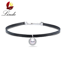 Vintage Black Leather Choker Necklace For Women High Quality Big Real Natural Pearl Chokers Fashion 925 Sterling Silver Jewelry(China)