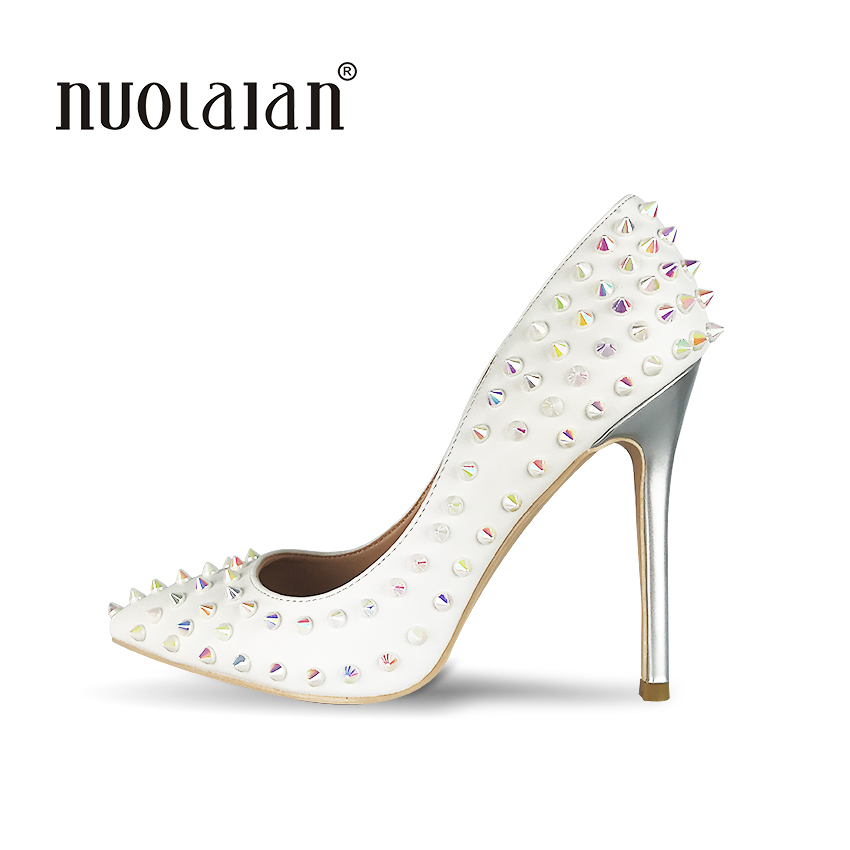 Sexy Women Shoes High Heel Pumps White Shoes Woman Designer Heel Pointed Stiletto Party Shoes Sexy High Heel Rivets Shoes<br>