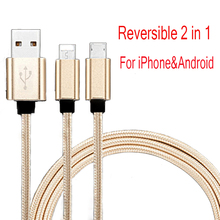 Reversible 2 in 1 USB Cable For iPhone&Android 100CM Fast Charger Cable For Lightning iPhone 7 Micro USB Cable For Samsung LG