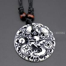 Cool Faux Bone Carved Dragon Totem Pendant Dog Tag Wood Beads Rope Necklace Amulet Lucky Gift YN113