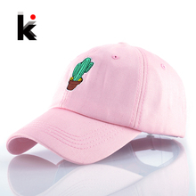 Spring Women's Cap Snapback Pink Cactus Embroidery Dad hat Men's Summer Baseball Caps Hip Hop hats For Girls Casquette Homme(China)